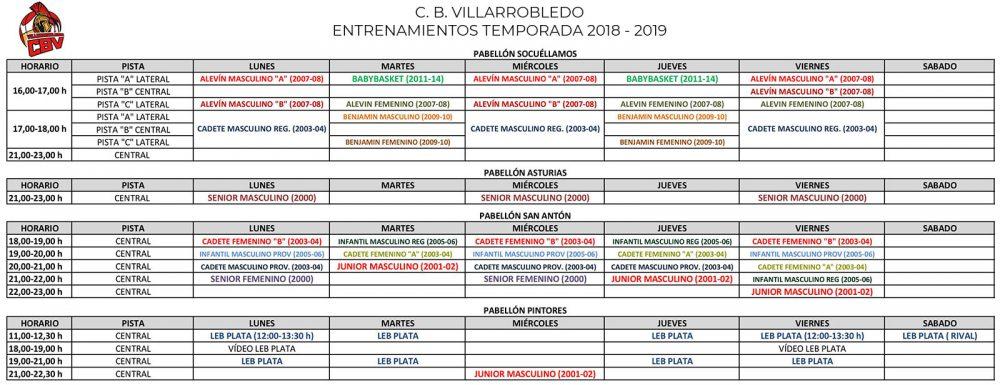 Horarios de entrenamientos de todos los equipos del Club Baloncesto Villarrobledo para la temporada 2018 - 2019